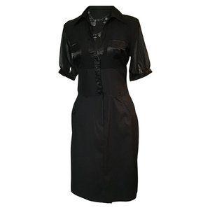 Cotton Works Black Sheer & Pinstriped Dress WMS SM